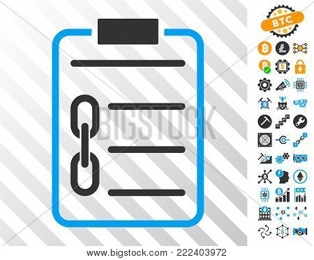 Blockchain Contract playing cards icon with additional bitcoin mining and blockchain clip art. Flat vector style for cryptocurrency toolbars.
