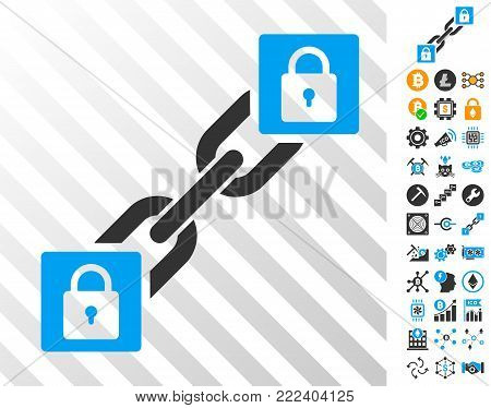 Lock Blockchain playing cards icon with additional bitcoin mining and blockchain images. Flat vector elements for crypto currency toolbars.
