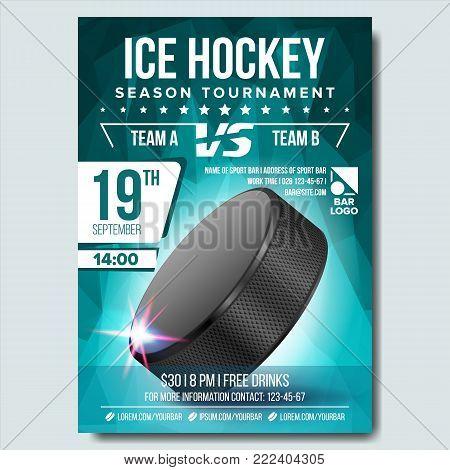 Ice Hockey Poster Vector. Ice Hockey Puck. Vertical Design For Sport Bar Promotion. Ice Hockey Flyer. Invitation Illustration