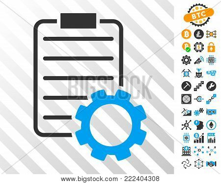 Smart Contract Gear playing cards icon with bonus bitcoin mining and blockchain symbols. Flat vector elements for crypto currency software.