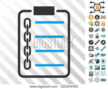Blockchain Contract playing cards icon with additional bitcoin mining and blockchain pictograms. Flat vector graphics for cryptocurrency apps.