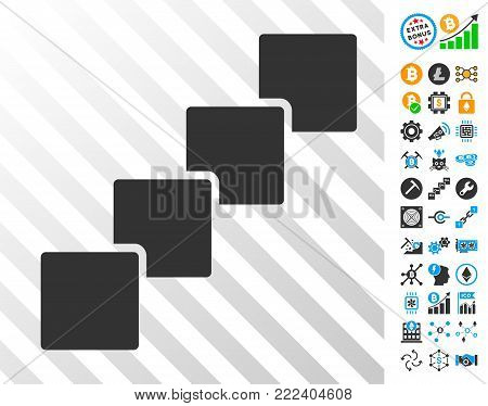 Blockchain playing cards pictogram with additional bitcoin mining and blockchain symbols. Flat vector style for blockchain websites.