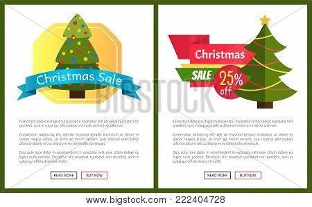 Christmas sale buy now posters vector illustration of promotion cards with text sample, New Year trees with cute toys, push-buttons, blue ribbons