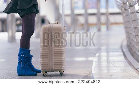 woman traveler Luggage Business Trip Travel transportation.