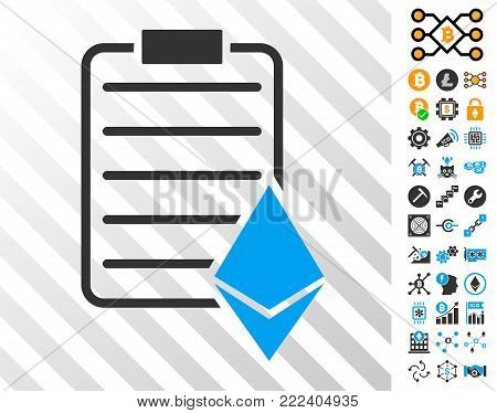 Ethereum Contract playing cards icon with bonus bitcoin mining and blockchain symbols. Flat vector pictures for cryptocurrency software.