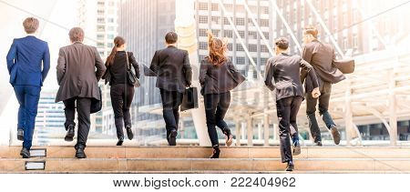Business People Walking Commuter Travel Motion City Concept with sunlight