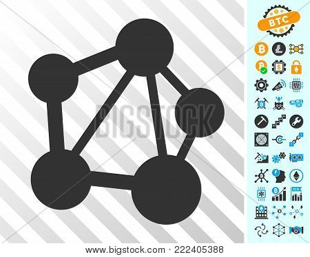 Network playing cards pictograph with bonus bitcoin mining and blockchain icons. Flat vector graphics for bitcoin toolbars.