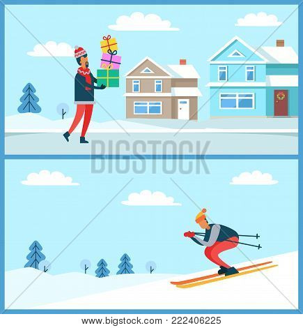 Skier going down slope, and man holding presents, wintertime and buildings, trees covered with snow, cold weather isolated on vector illustration