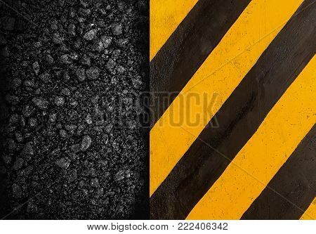 Black And Yellow Stripes . Industrial Striped Road Warning Yellow Gray Texture Pattern