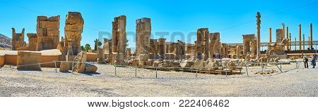 PERSEPOLIS, IRAN - OCTOBER 13, 2017: The large archaeological complex of Persepolis includes the ruins of different palaces and ceremonial buildings, on October 13 in Persepolis.
