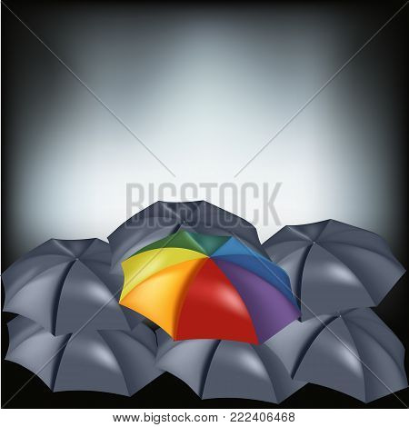 Vector set of black classic open round umbrella top view from the front close-up in the middle of a colored outdoor umbrella. isolated on a dark background.