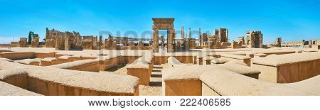 The largest ancient palace complex in middle East with preserved stone ruins, occupying the plateau at the mountains' foot, Persepolis, Iran.