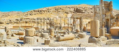 The Broken Columns And Walls Of The Ancient Hundred Columns Hall In Persepolis, The Ceremonial Capit