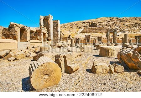 Persepolis Complex Is Famous For Preserved Ancient Palaces And Tombs, Iran.