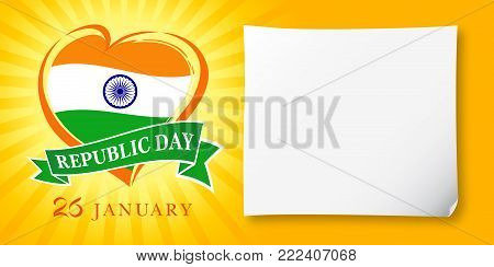 Republic Day Idia, 26 January greeting banner. Vector illustration for 26th january Republic Day Idia lettering banner with heart national flag and text on yellow stripes background