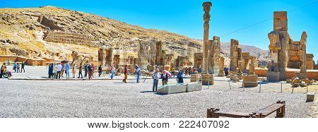 Persepolis, Iran - October 13, 2017: The Crowded Area In Persepolis Archaeological Site In Front Of