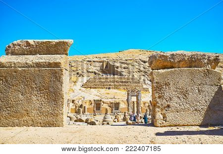 Persepolis, Iran - October 13, 2017: The View On The Artaxerxes Iii Tomb, Located On The Mountain Sl