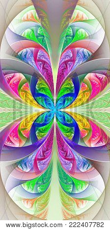 Beautiful multicolored fractal flower. Collection - frosty pattern. You can use it for invitations, notebook covers, phone case, postcards, cards, wallpapers and so on. Artwork for creative design, art.