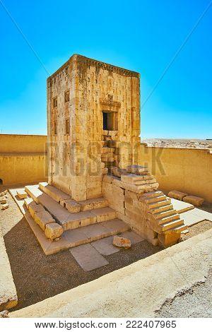 The limestone rectangular building of Ka'ba-ye Zartosht in Naqsh-e Rustam Necropolis, Iran.