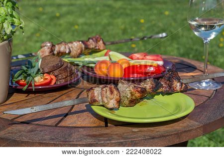 Assorted delicious grilled meat with vegetable on green plate on picnic table for family bbq party