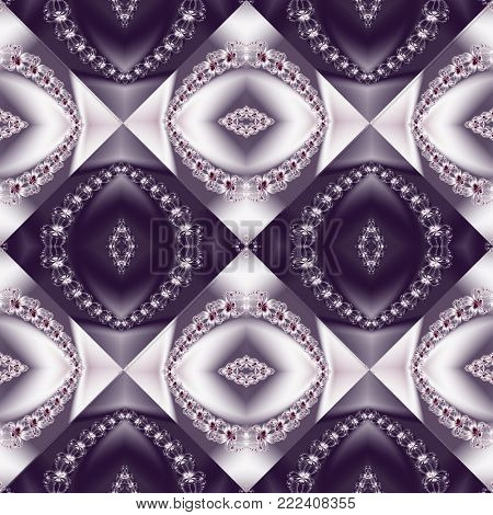Two-tone seamless pattern with floral circle and square ornament. You can use it for invitations, notebook covers, phone case, postcards, cards, ceramics, carpets. Artwork for creative design.