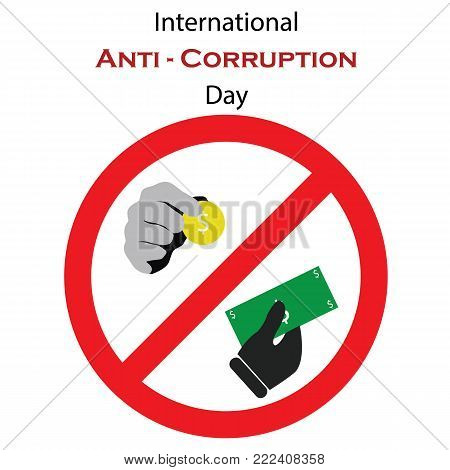 Vector illustration for International Anti-Corruption Day with symbolical icons of money