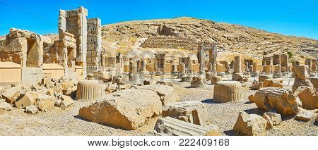 Panorama of Hundred Columns Hall with numerous gates and broken columns, Persepolis, Iran.