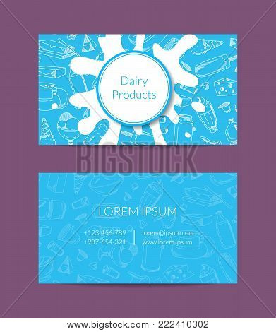 Vector business card for dairy shop or organic farm with dairy elements, milk splashes and place for text illustration