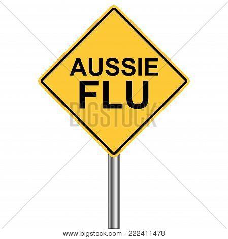 yellow rhombus warning sign, Caution - Flu aussieShots Ahead, vector Flu aussie Season Warning Sign H1N1 virus