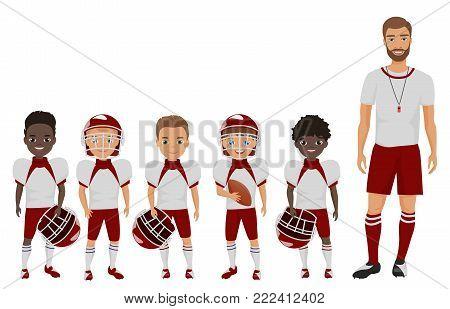 Vector Cartoon flat school american football boys team standing with their coach trainer