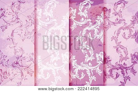 Damask patterns set Vector. Baroque ornament decor. Vintage background. Pink colors fabric texture