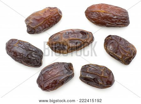 Date fruits Medjool variety top view isolated on white background