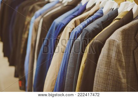Coats and jackets in second hand shop.