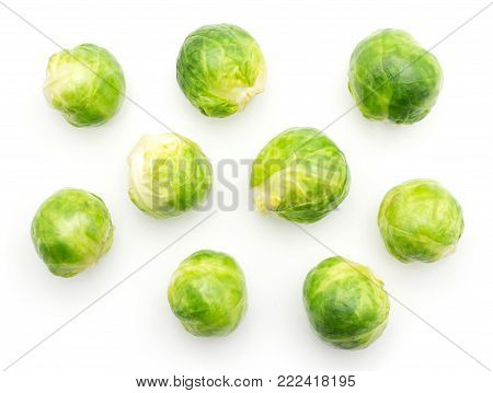 Boiled Brussels sprout heads top view isolated on white background