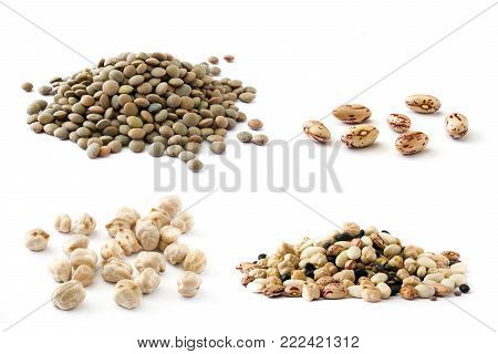 collage of legumes including lentils, chickpeas, pinto beans and mix legumes isolated on white background