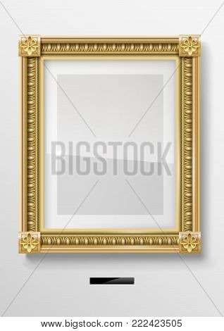 Empty classic portrait painting in a gold frame. Vector graphics. Museum exhibit