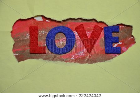 word love on an   abstract colred background