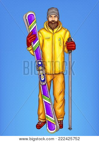 Pop art skier man vector sketch illustration. Hipster bearded adult boy holding ski and sticks in hands, in winter modern skiing sport outfit, gloves and knitted hat isolated on blue background