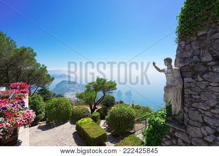 View of sea and garden from mount Solaro of Capri island, Italy