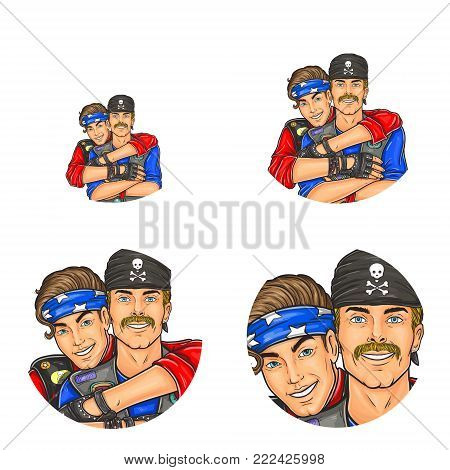 Vector pop art avatars for social network chat user profile or blog account picture icon template. Gay men couple embracing and happy smiling in 60th punk or leather clothes. Retro sketch set