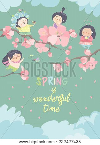 Cute little girls with cherry blossom. Vector greeting card