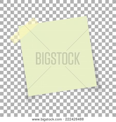 Office paper sticky note isolated on transparent background. Post on sticky tape. Template for your projects. Vector illustration