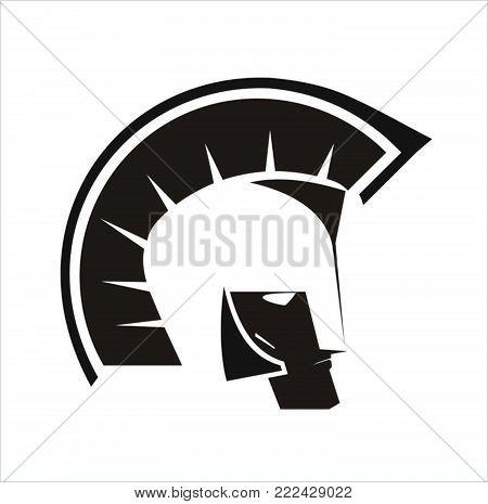 Warrior Icon Head. Warrior head logo on white background.