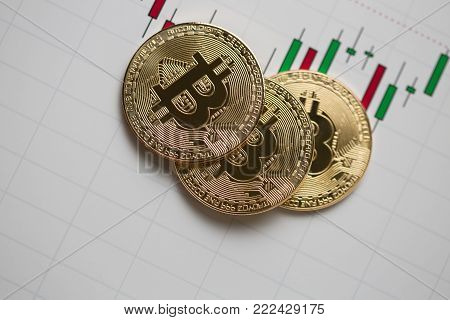 Bitcoin gold coin and chart background. Virtual cryptocurrency concept.