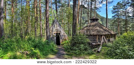 Traditional dwelling of Altaians - indigenous people living in the Altai mountains, Russia.
