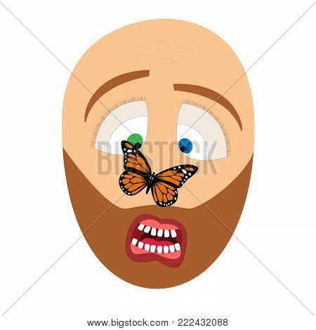 Butterfly on the nose of a man and a frightened expression of a man