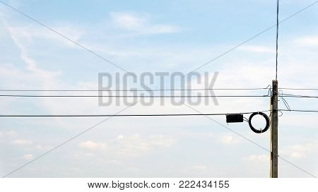Transmission Line Cables. Electric Wire In The Sky Backdrop