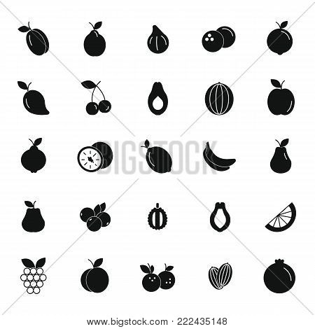 Fruit black silhouette icons set. Vector illustration of fruits and berryes in silhouette stile. Object for advertising and web