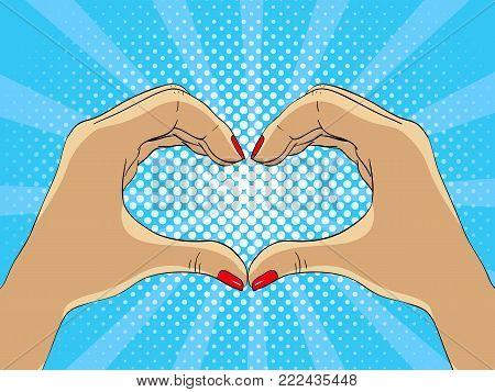 hands making hart form - vector illustration in pop art style, vector illustration