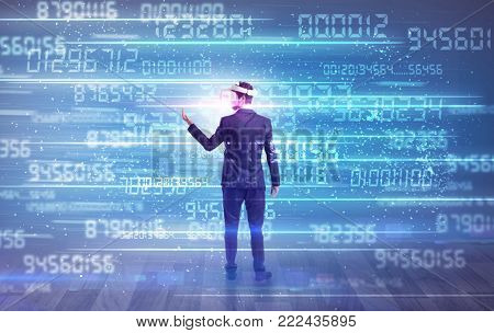 Businessman in vr glasses with variable fast changing numbers around